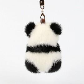 Fluffy Panda Keyring, 100% Real Mink Fur Stuffed Panda Keychain, Panda Plush Keychain