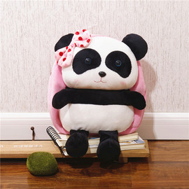 Panda Plush Backpack, Kids Panda Backpack, Colorful Stuffed Panda Backpack for Kids