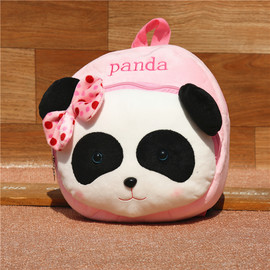 Kids Panda Backpack, Panda Plush Backpack for Kids, Cute Bow-knot Stuffed Panda Backpack for 1-5 Years Old Kids