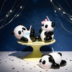 Panda Candles for Birthday Cake Decorations, 3 Adorable Cartoon Little Panda Birthday Cake Candles