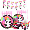 Panda Party Supplies Pack for 6 Guests, Cute Panda Birthday Party Supplies Set for Girls