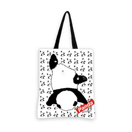 Panda Tote Bag, Panda Canvas Bag with Fushun's Face Plants-ground Print