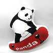 16x16 in Panda Throw Pillow, Unique and Stylish Panda with Skateboard Shaped Pillow