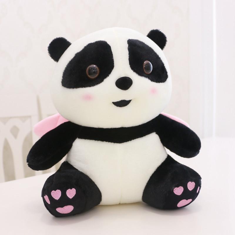 Anxiety Stuffed Animal, Panda Soft Toy Cute Panda Plush With Pink Angel Wings