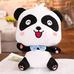 Panda Plush Toy, Cartoon Style Panda Bear Stuffed Animal with Happy Face