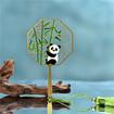 Panda and Bamboo Mini Metal Bookmarks, Exquisite Fan Shaped Panda Metal Bookmark with Tassel