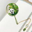 Cute Panda Bookmarks, Fan Shaped Bamboo and Panda Metal Bookmarks in 7 Options