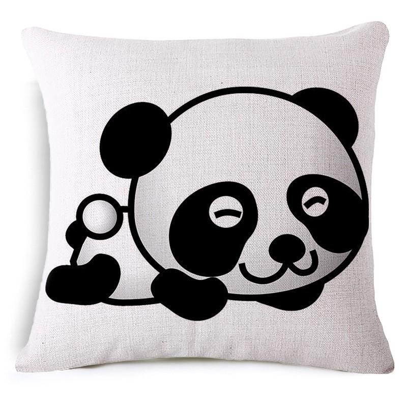 18Inch Square Panda Throw Pillow Case Cotton Linen Comfortable Cushion Cover