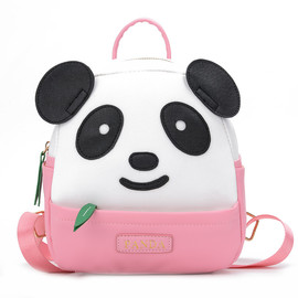 Cute Panda Backpack, Girls Panda Backpack,  Black and Gold PU Small Panda Backpack for Girls