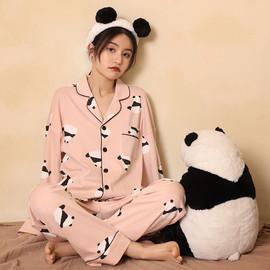 Panda Pajamas Womens, Sweet Button-down Pink Panda Pajamas Sets