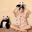 Panda Pajama Short-Sleeved Top and Shorts Pink Panda Pajamas Womens