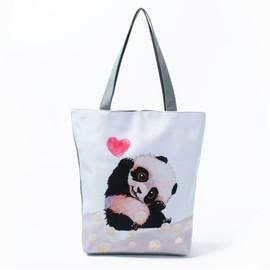 Panda Shoulder Bag for Women, Cute Cartoon Panda Canvas Shoulder Bags Women's, Canvas Tote Bag for Women