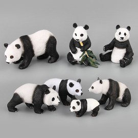 Panda Figurine, 7 pcs Panda Miniature Figurines, Simulation Panda Miniature Dolls, Mini Panda Toys
