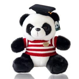 Ph. D.Panda Stuffed Animals, Doctor Panda Teddy Bear, Adorable Panda Toys with Doctor Hat and Striped Sweater