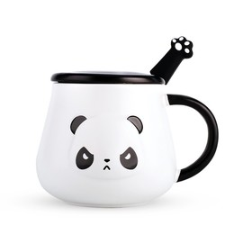 Panda Mug, 500ml Panda Coffee Mug, Cute Panda Mug with Lid and Spoon