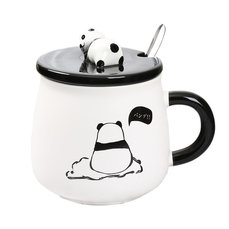 Cute Panda Coffee Mug With Lid Spoon