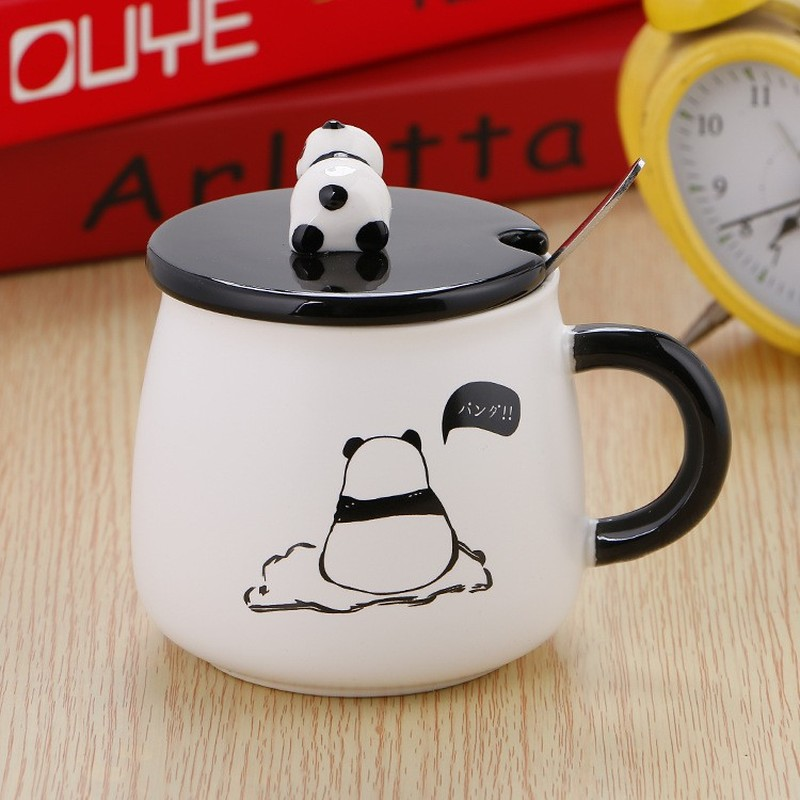 Panda Cup Cute Mugs Funny Ceramic Coffee Mug With Lid And Spoon