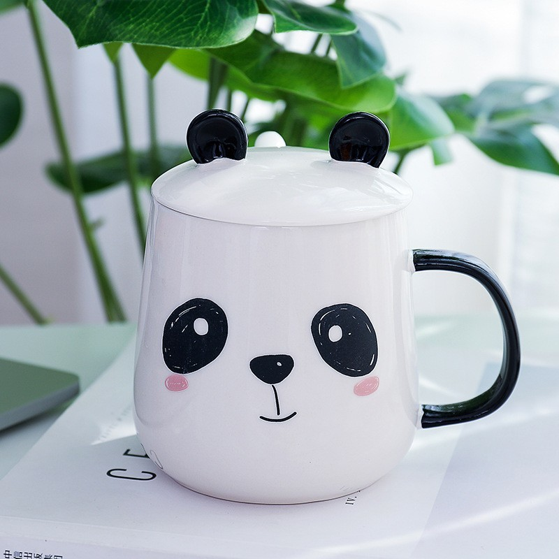 Panda Cute Coffee Mugs With Lid Spoon