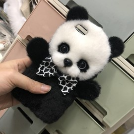 Panda iPhone Case, Cute Handmade Phone Cases, Fluffy Panda Case for iPhone 7 Plus, iPhone X, iPhone 11, iPhone XS Max